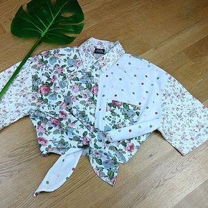 VTG Judy Knapp  Floral cropped blouse Size S